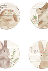 Set of 4 Wooden Bunny Coasters