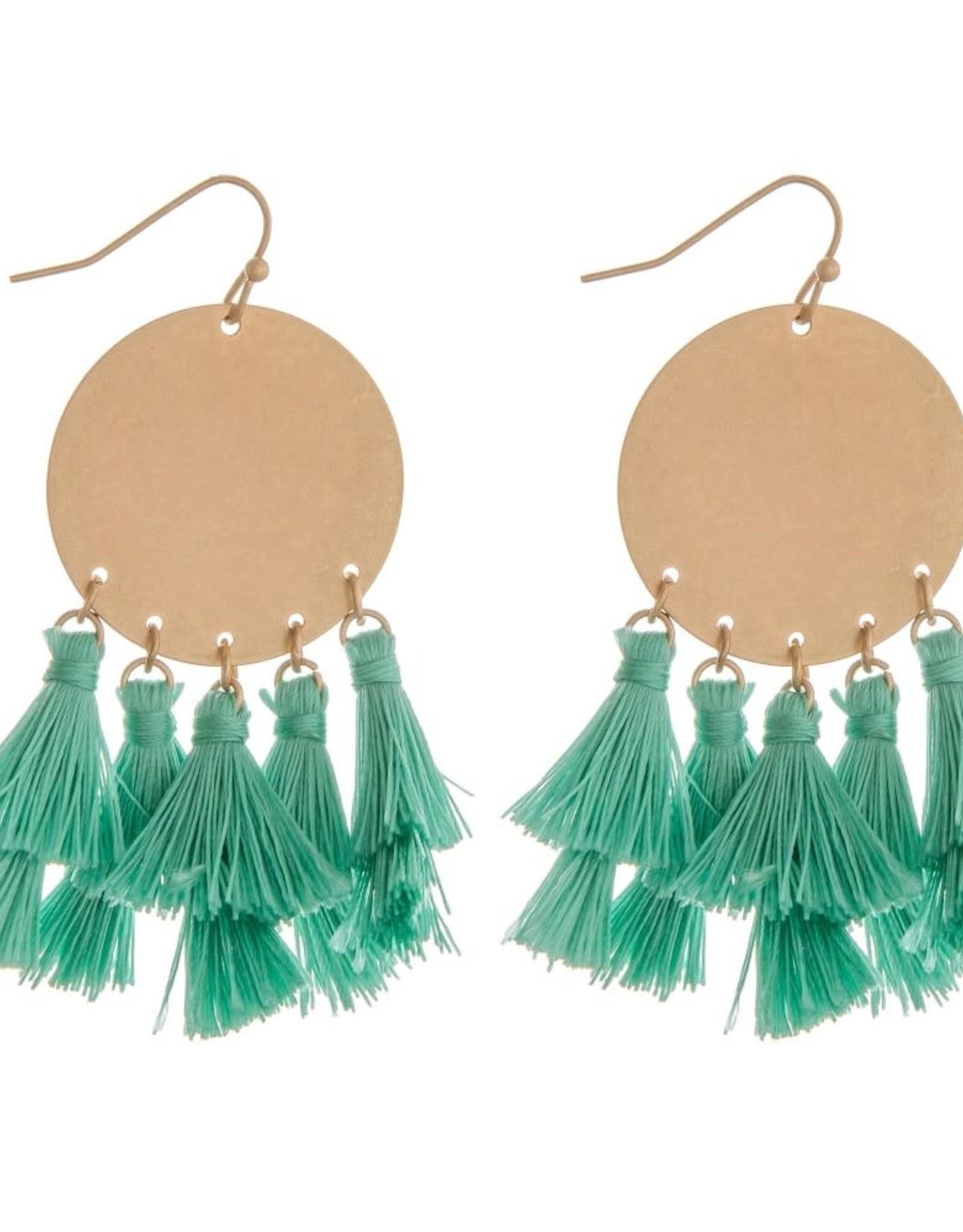 Fringe Tassel Bohemian Earrings - Teal & Gold