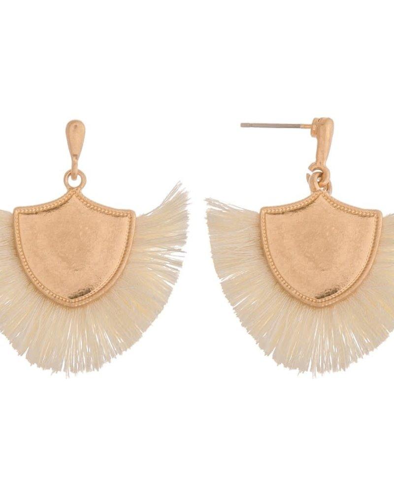 Fringe Tassel Drop Earrings - Ivory