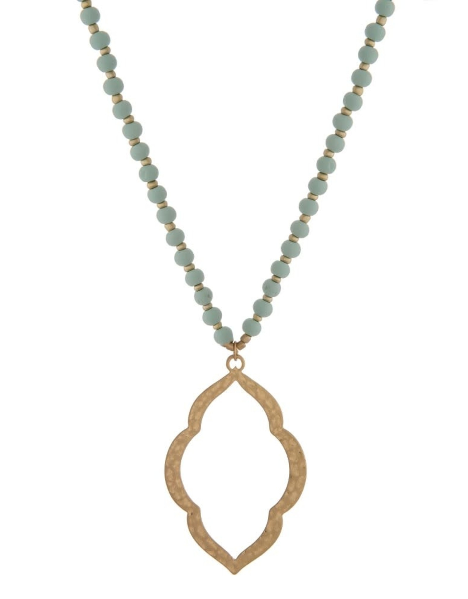 Wood Beaded Macroccan Necklace - Mint