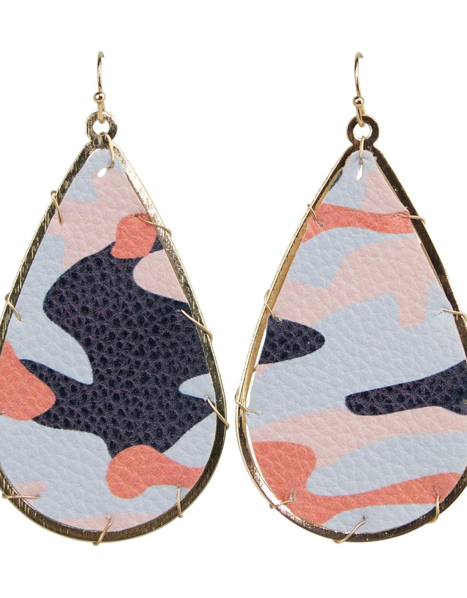 Printed Leather Earrings - Multi Camo