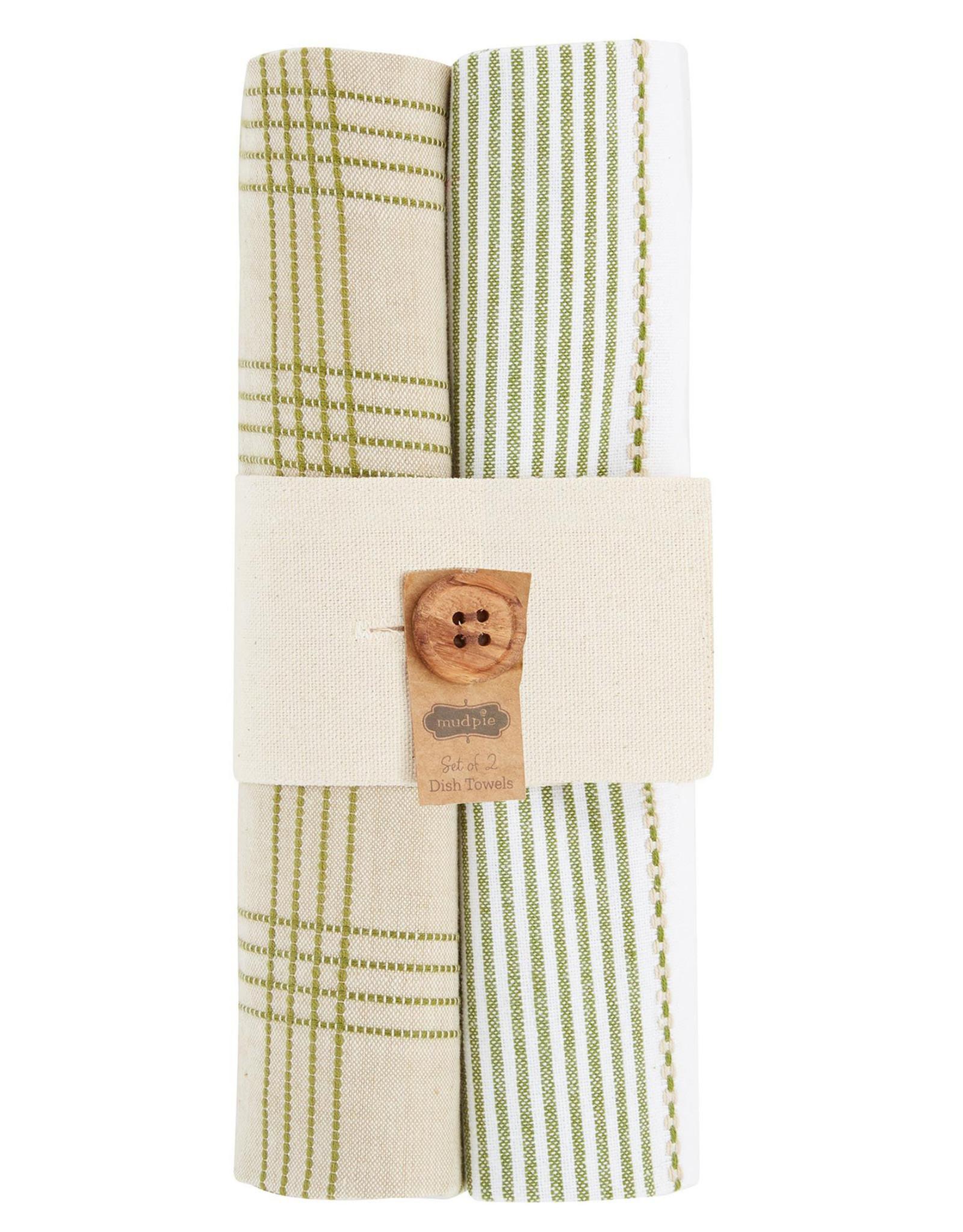 Dish Towel Set - Green & Taupes