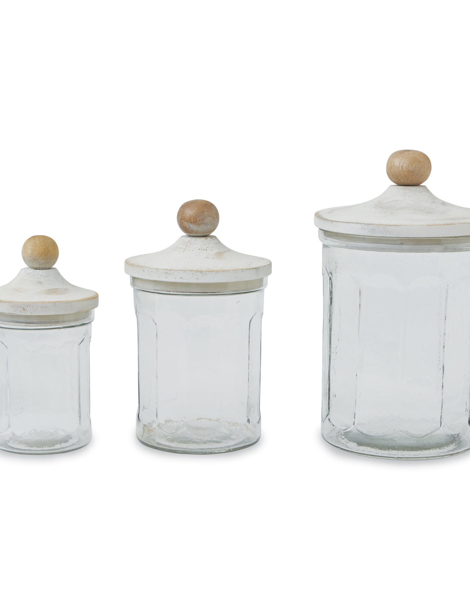 Wooden & Glass Canisters - Set of 3