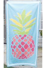 Microfiber Beach Towel - Pineapple on Aruba Blue