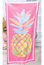 Microfiber Beach Towel - Pineapple on Pink