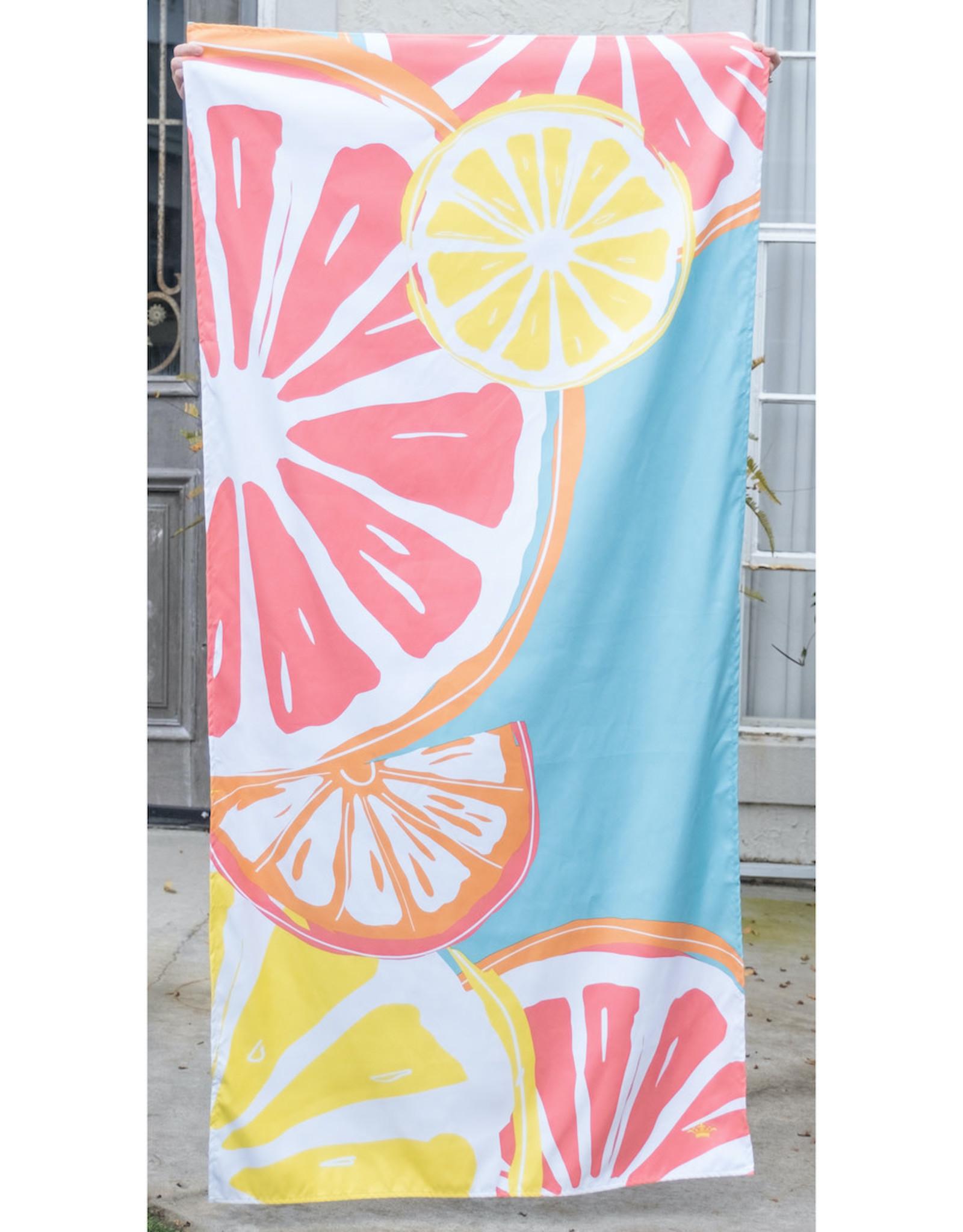 Microfiber Beach Towel - Tutti Fruiti on Aruba Blue