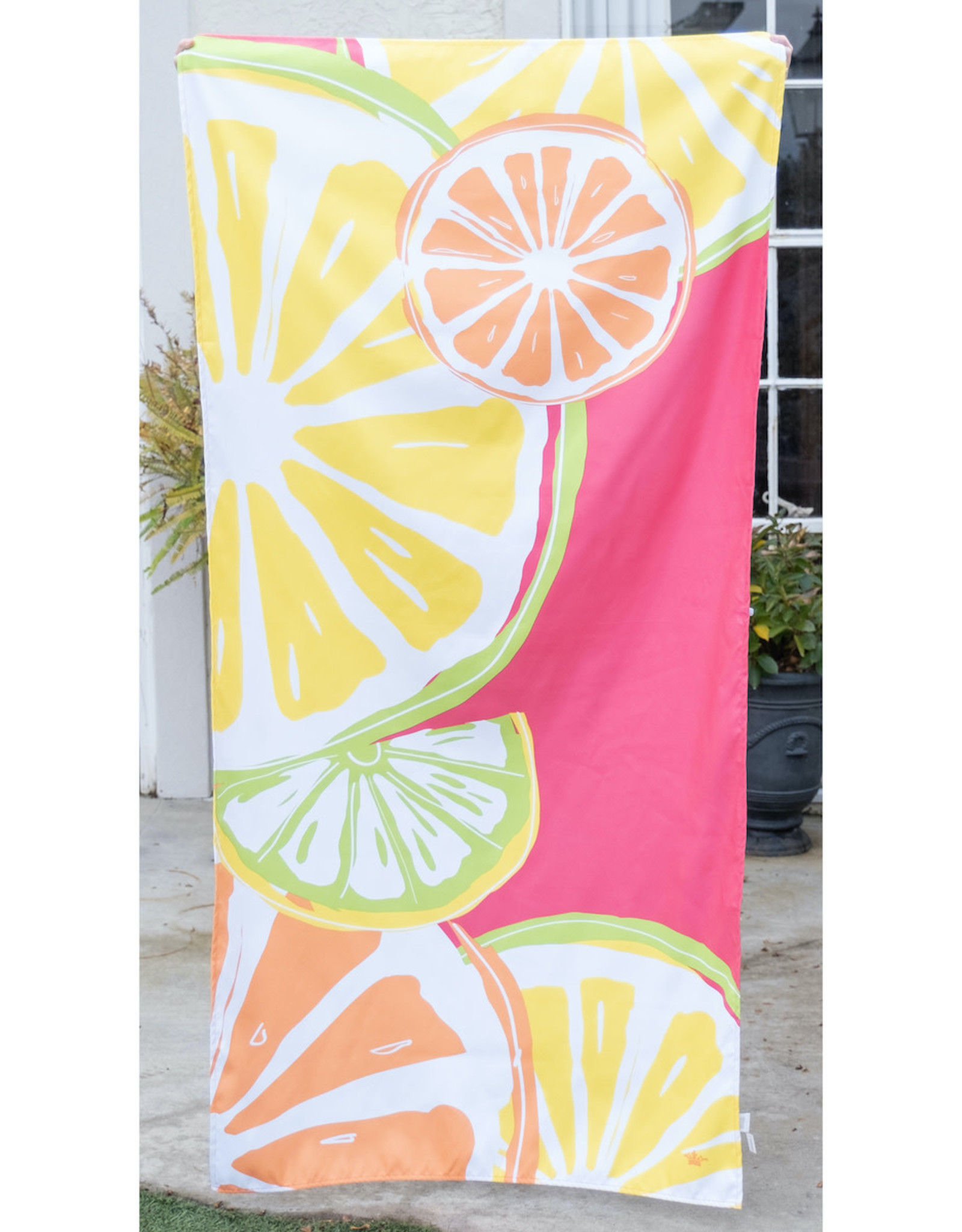 Microfiber Beach Towel - Tutti Fruiti on Pink