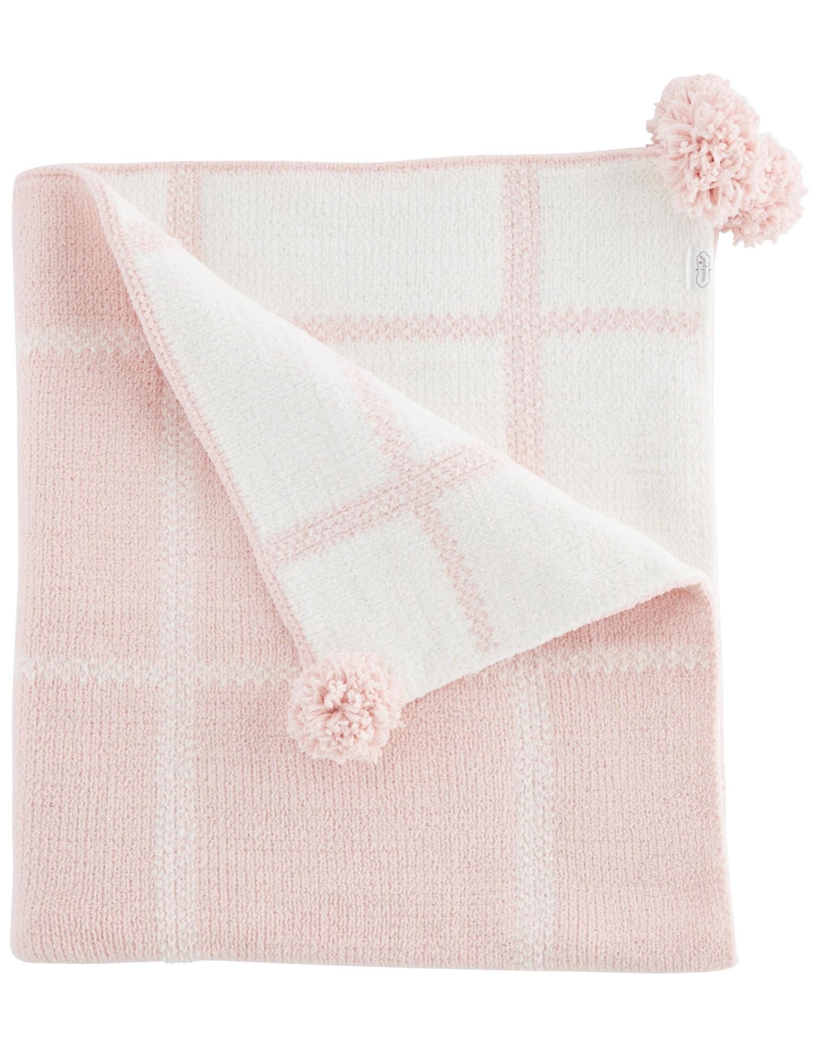 Mudpie Baby Blanket - Pink Plaid Chenille