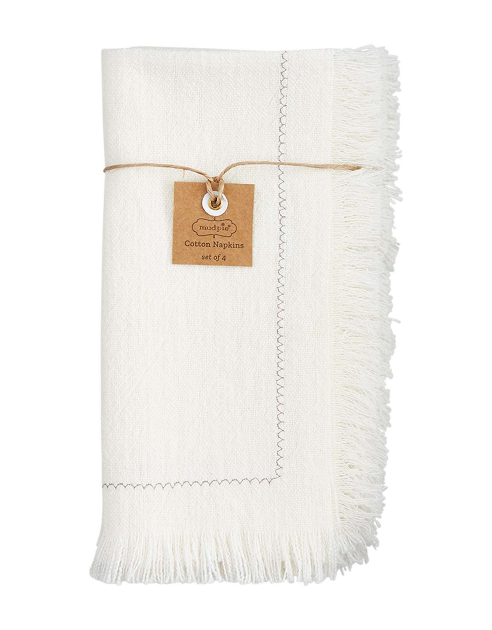 Fringe Cotton Napkins - Set of 4 - White