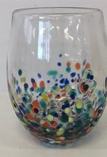 Pebble Glassware - Stemless Wine Glass with Confetti