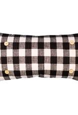 Luckybird Button Pillow - Black/White Checkered