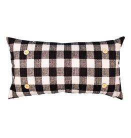 Button Pillow - Black/White Checkered