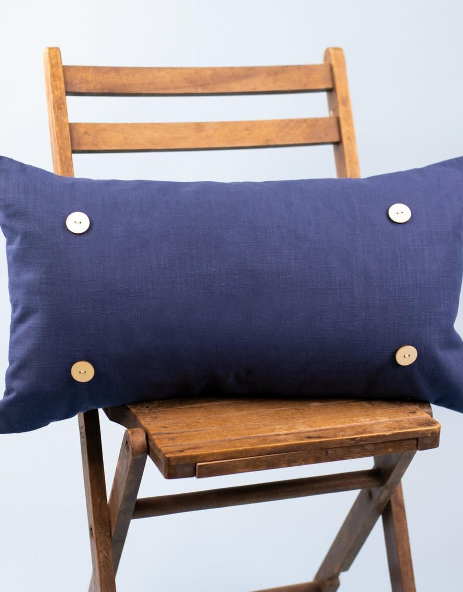 Luckybird Button Pillow - Navy