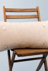 Luckybird Button Pillow - Khaki Linen
