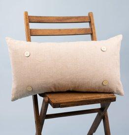 Button Pillow - Khaki Linen
