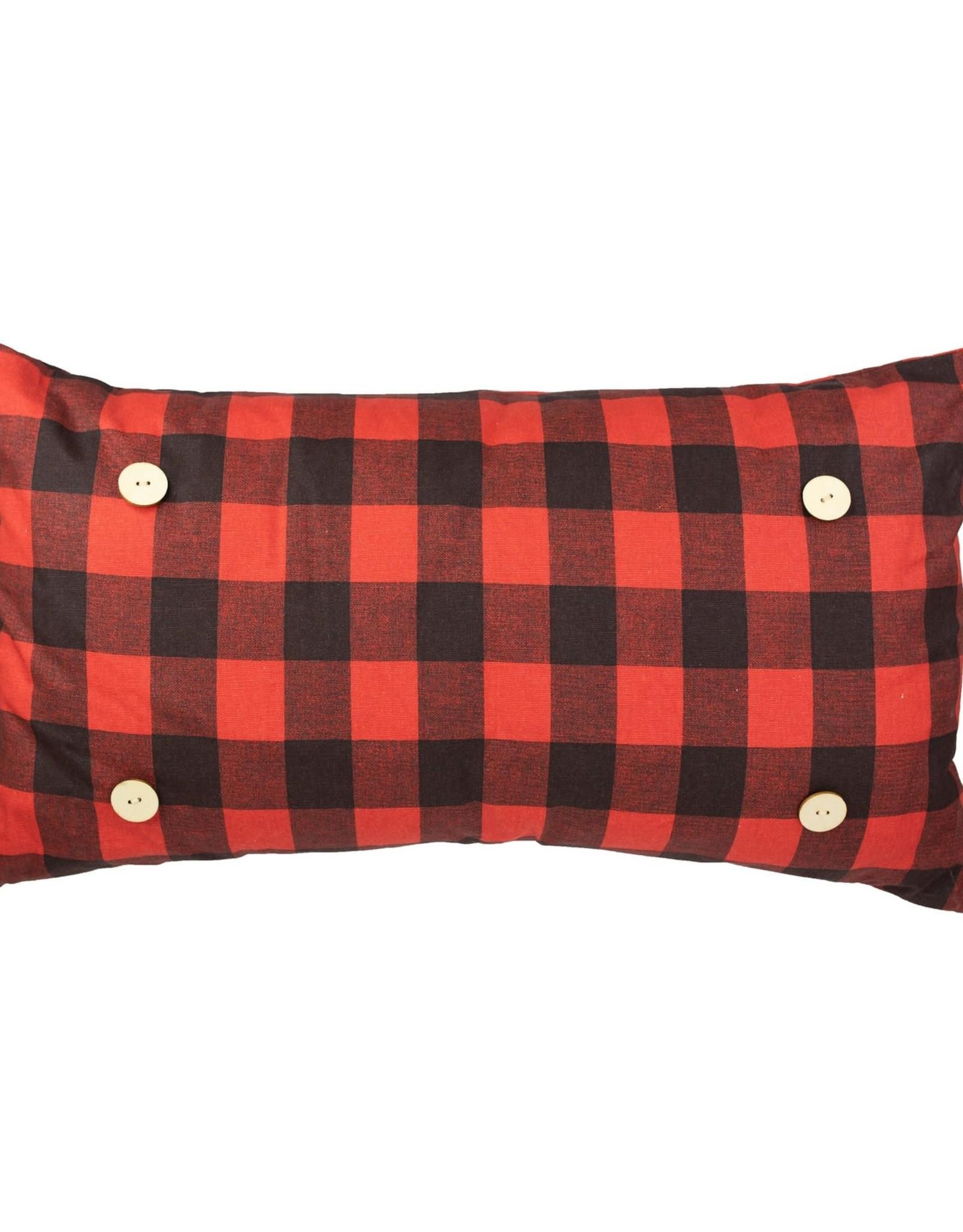 Luckybird Button Pillow - Red Buffalo