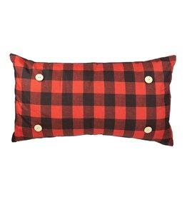 Button Pillow - Red Buffalo