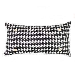 Button Pillow - Black/White Houndstooth