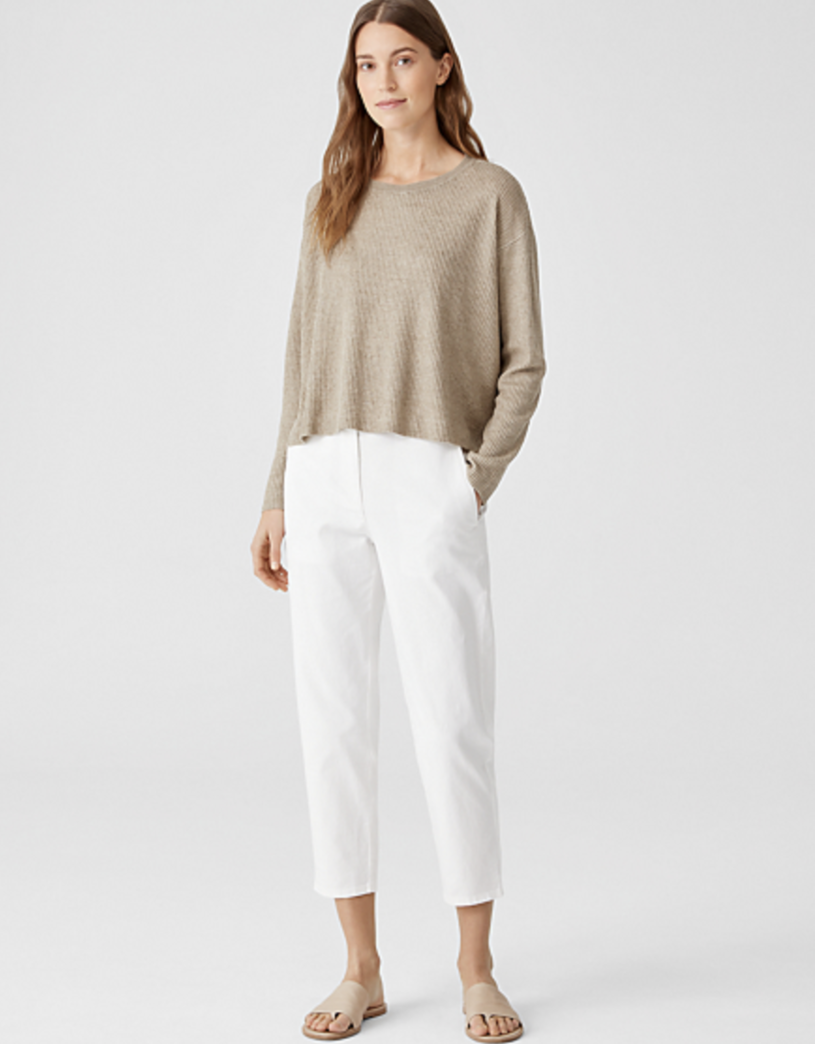 Eileen Fisher S1OEJ-W5863M Crewneck Crop