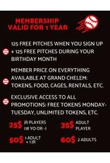 Grand Chelem Regular membership + 125 free pitches