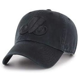 47 - Expos MLB Clean Up Cap-BLK ON BLK