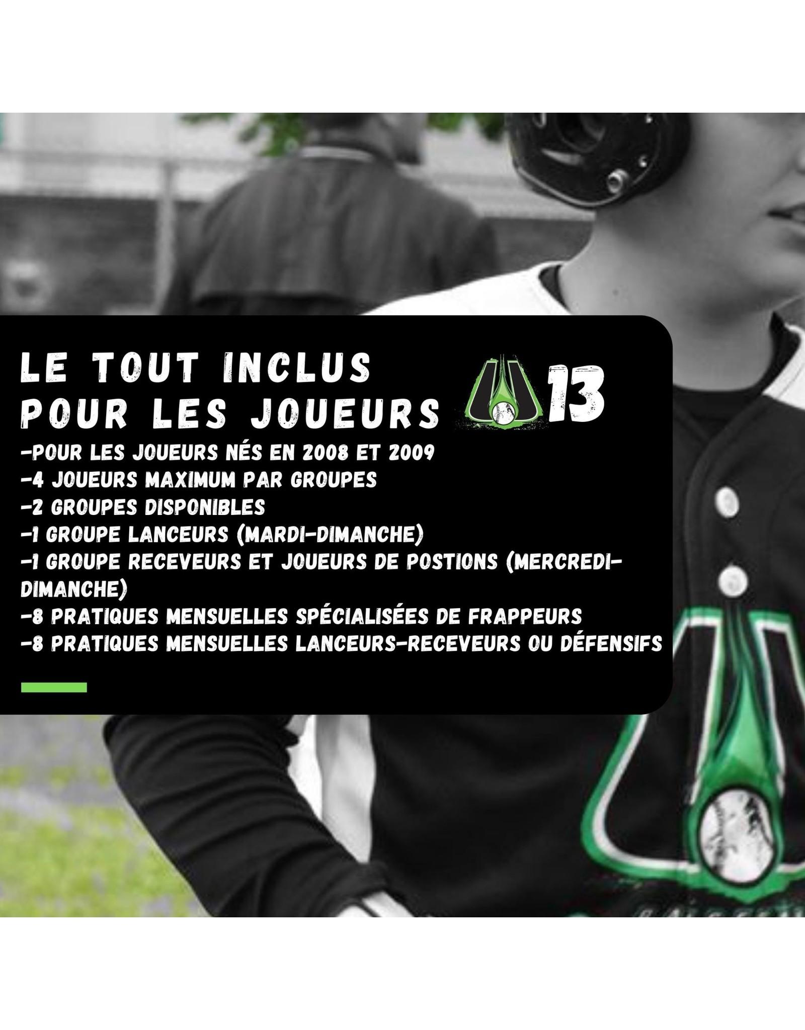 Tout inclus mensuel U13  Groupe lanceurs  (mardi-dimanche)