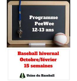 Usine du baseball Programme PeeWee hiver 2019 2020 - Usine du baseball