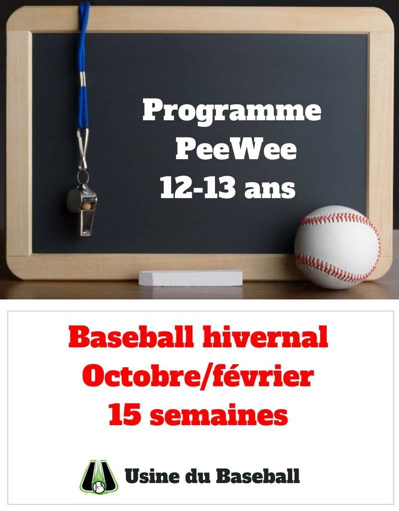 Usine du baseball PeeWee Program - Winter baseball 2018-2019
