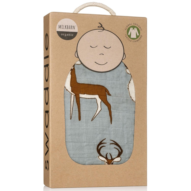 Milkbarn Organic Swaddle Blue Buck