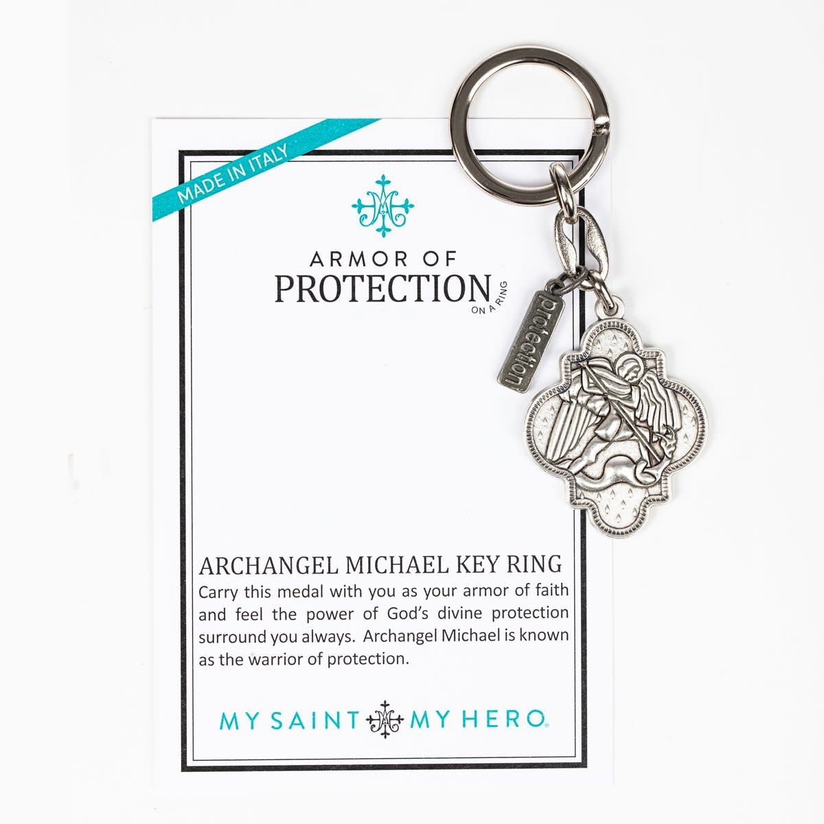 My Saint My Hero St. Michael Armor of Protection Key Ring