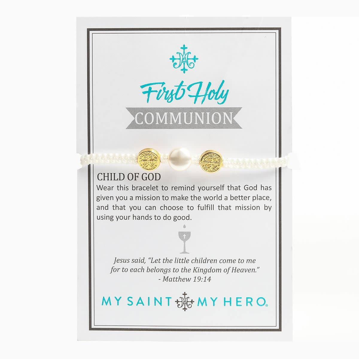 My Saint My Hero Kids Pearl First Communion Blessing Bracelet