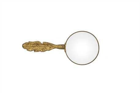 Creative Co-Op Pewter Magnifying Glass w/Feather Handle, Gold