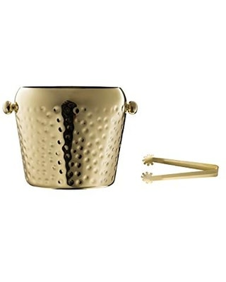 Creative Co-Op Hammered Stainless Steel Ice Bucket w/ Tongs
