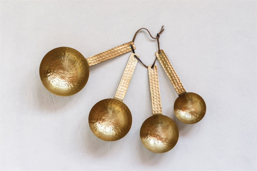 Creative Co-Op Hammered Brass Scoops with Leather Tie