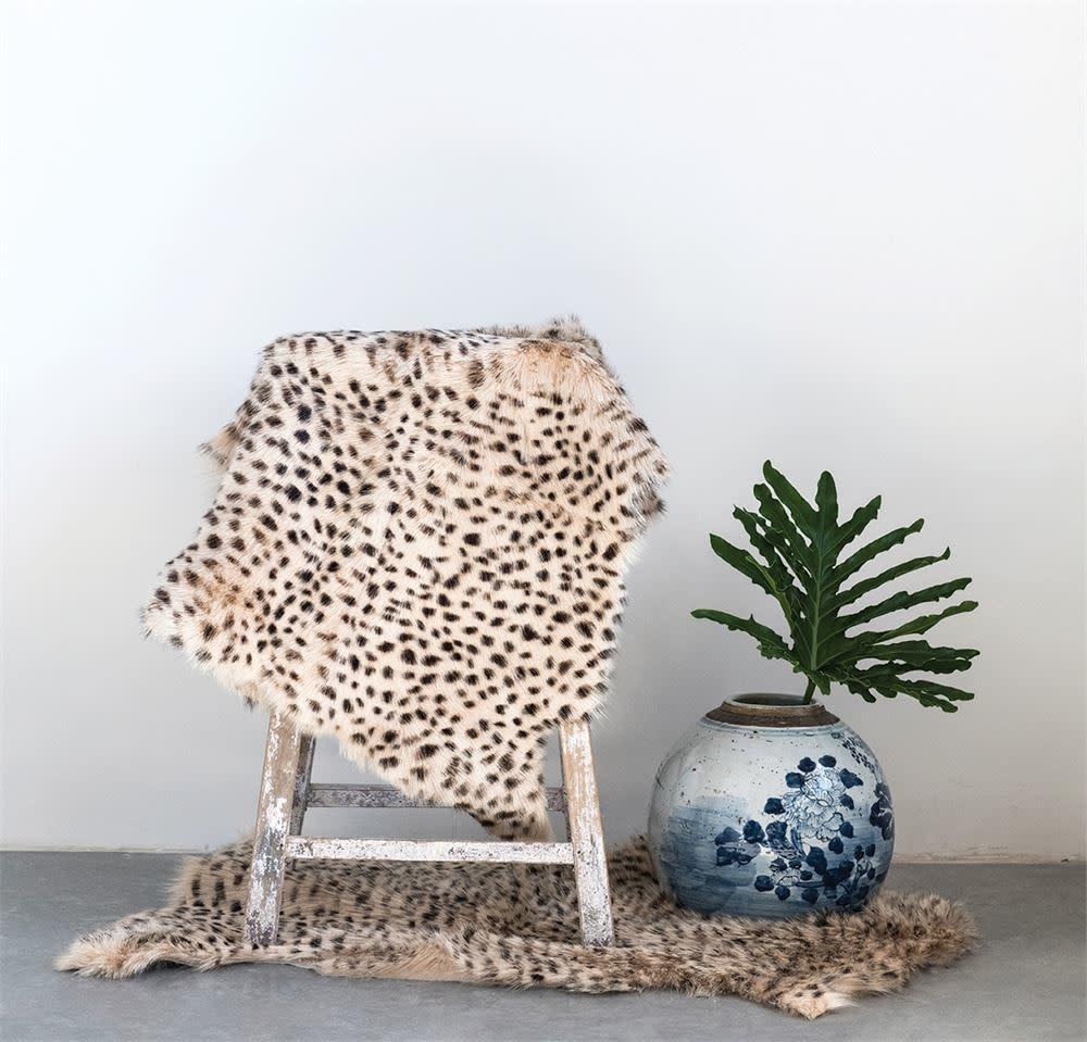 Creative Co-Op Leopard Print Goat Fur Rug