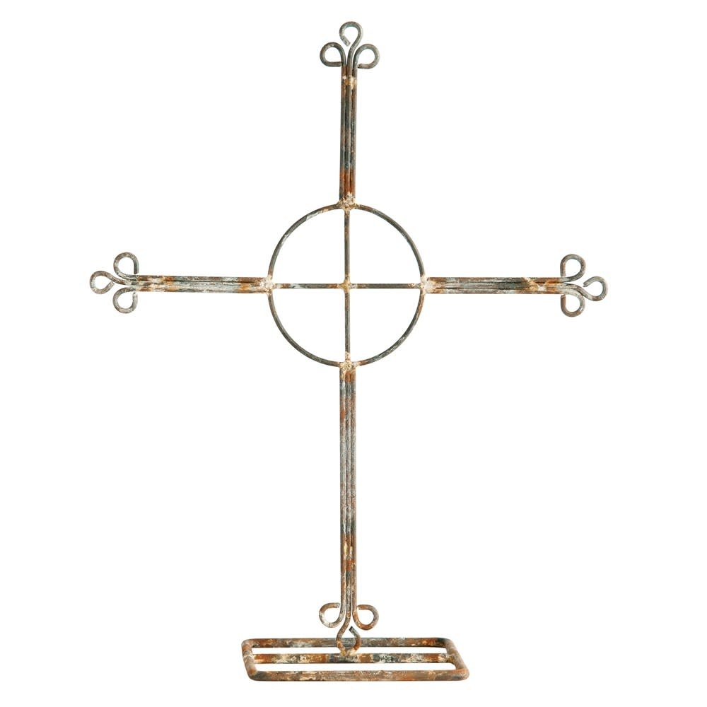 Creative Co-Op Large Distressed Zinc Finish Metal Cross on Stand