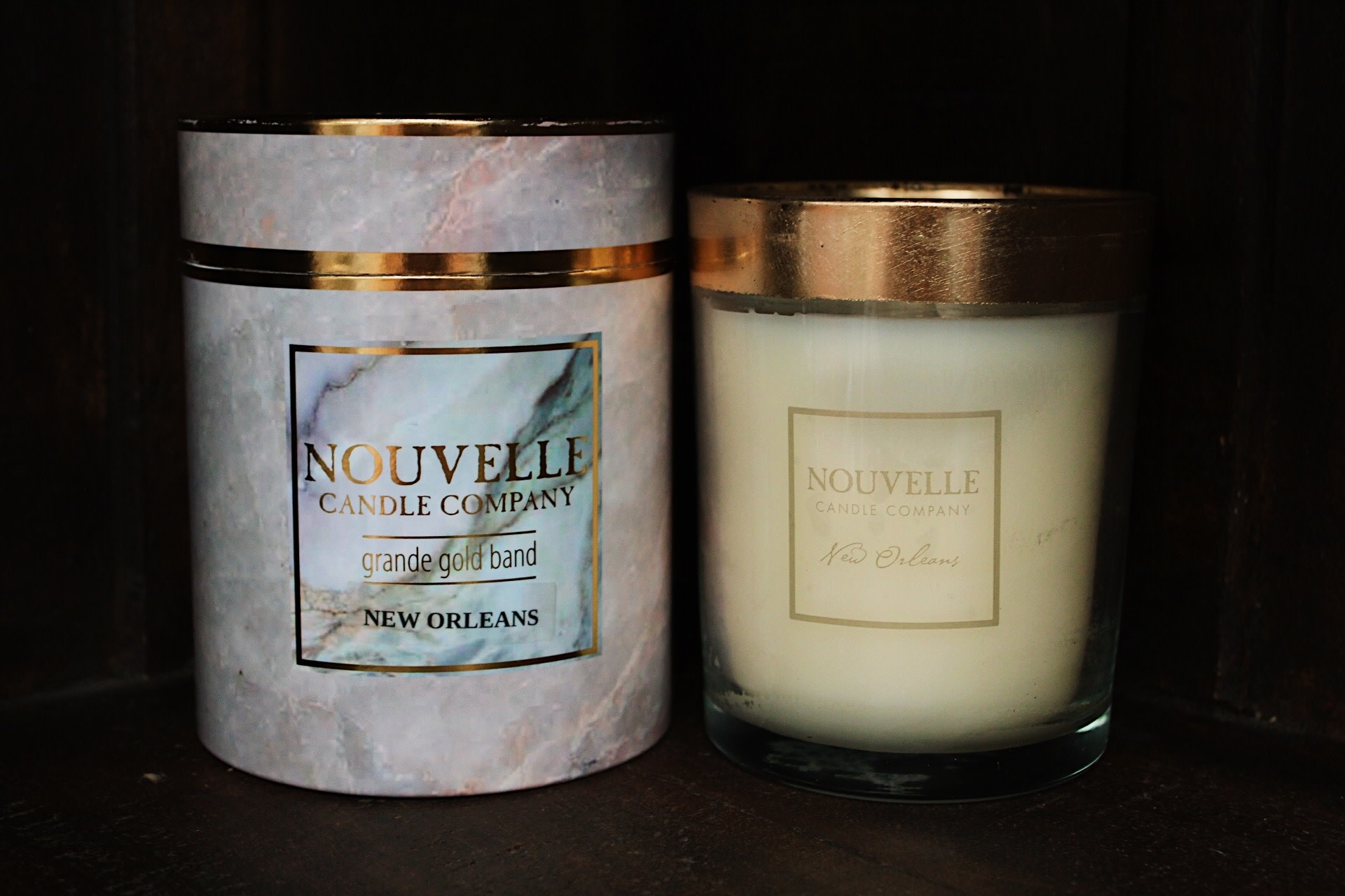 Nouvelle Candle Company New Orleans Boxed Gold Band Grande