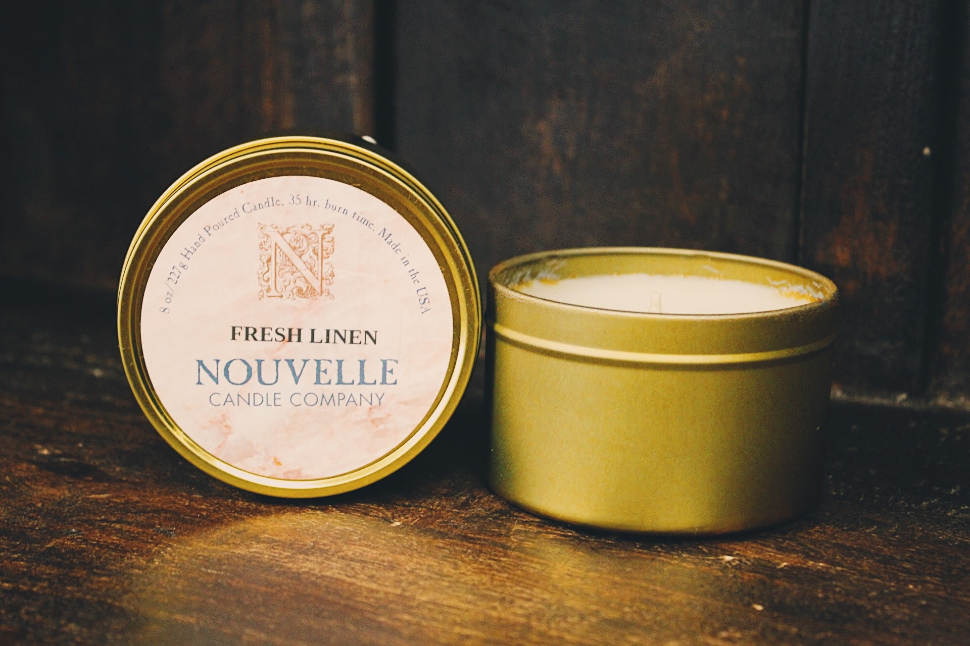 Nouvelle Candle Company Fresh Linen Travel Tin