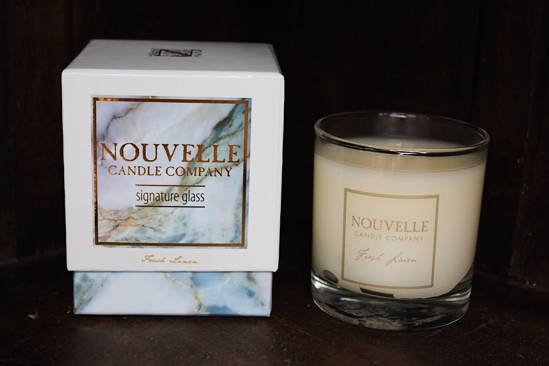Nouvelle Candle Company Fresh Linen Large Glass