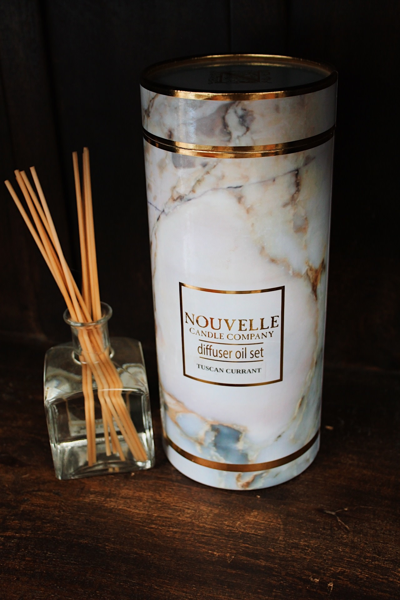 Nouvelle Candle Company Tuscan Currant Boxed Reed Diffuser Set