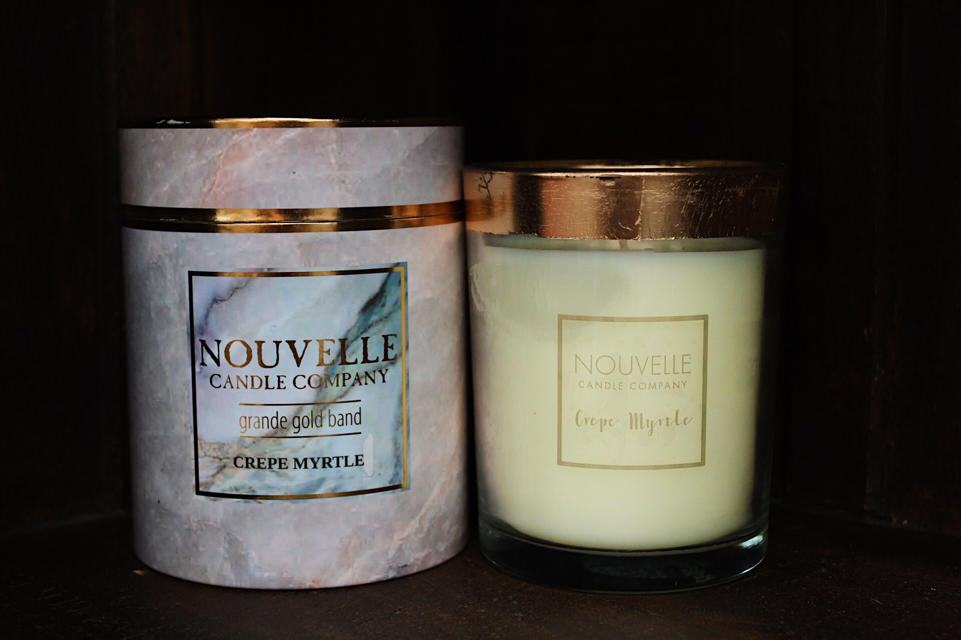 Nouvelle Candle Company Crepe Myrtle Grande Gold Band