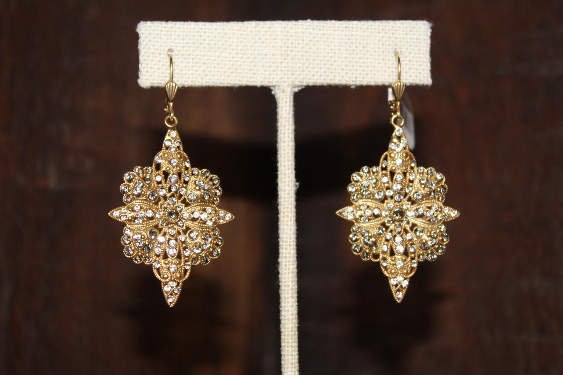 La vie Parisienne Flowered Cross Earrings