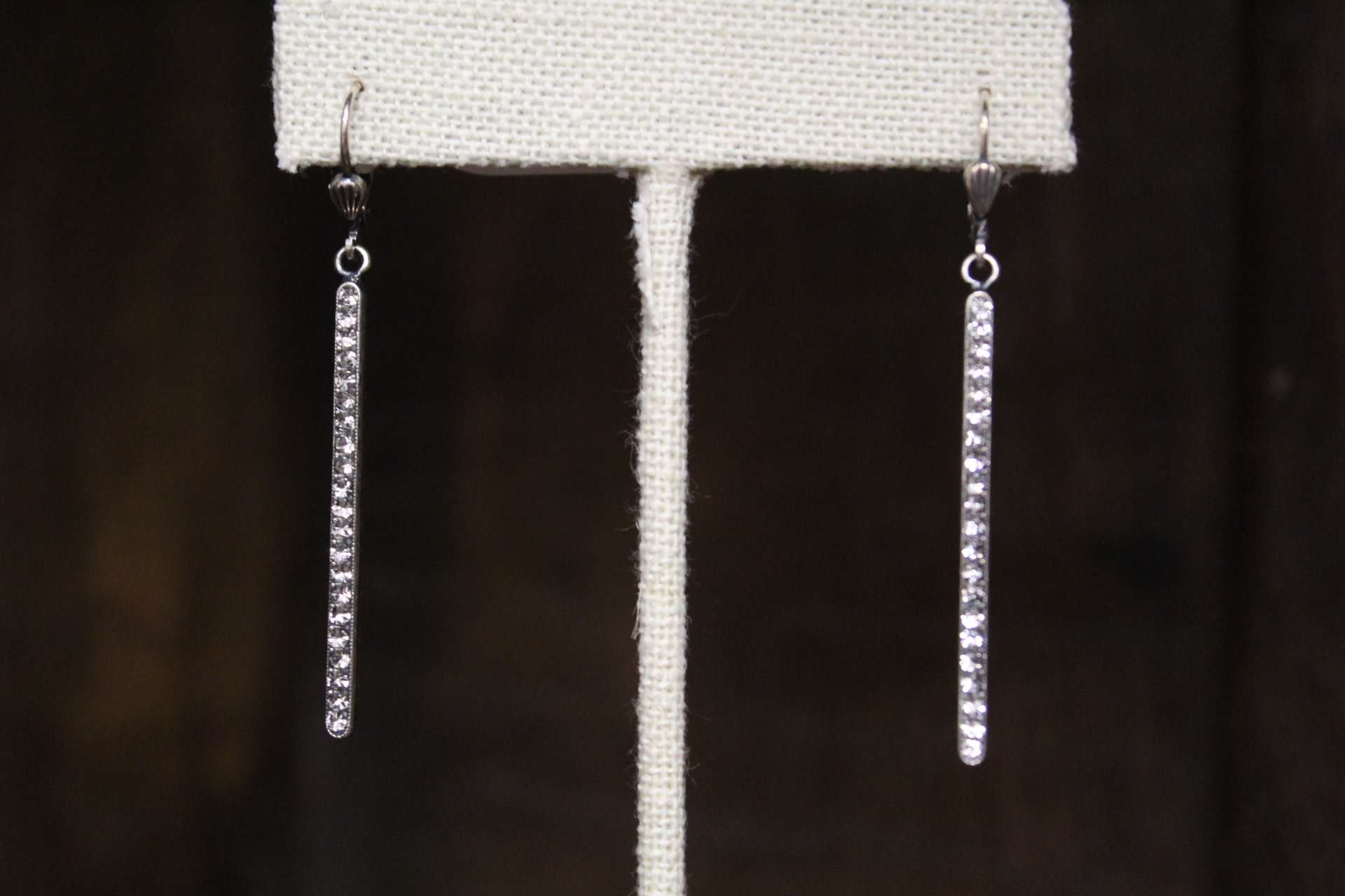 La vie Parisienne Clear Long Stone Earrings