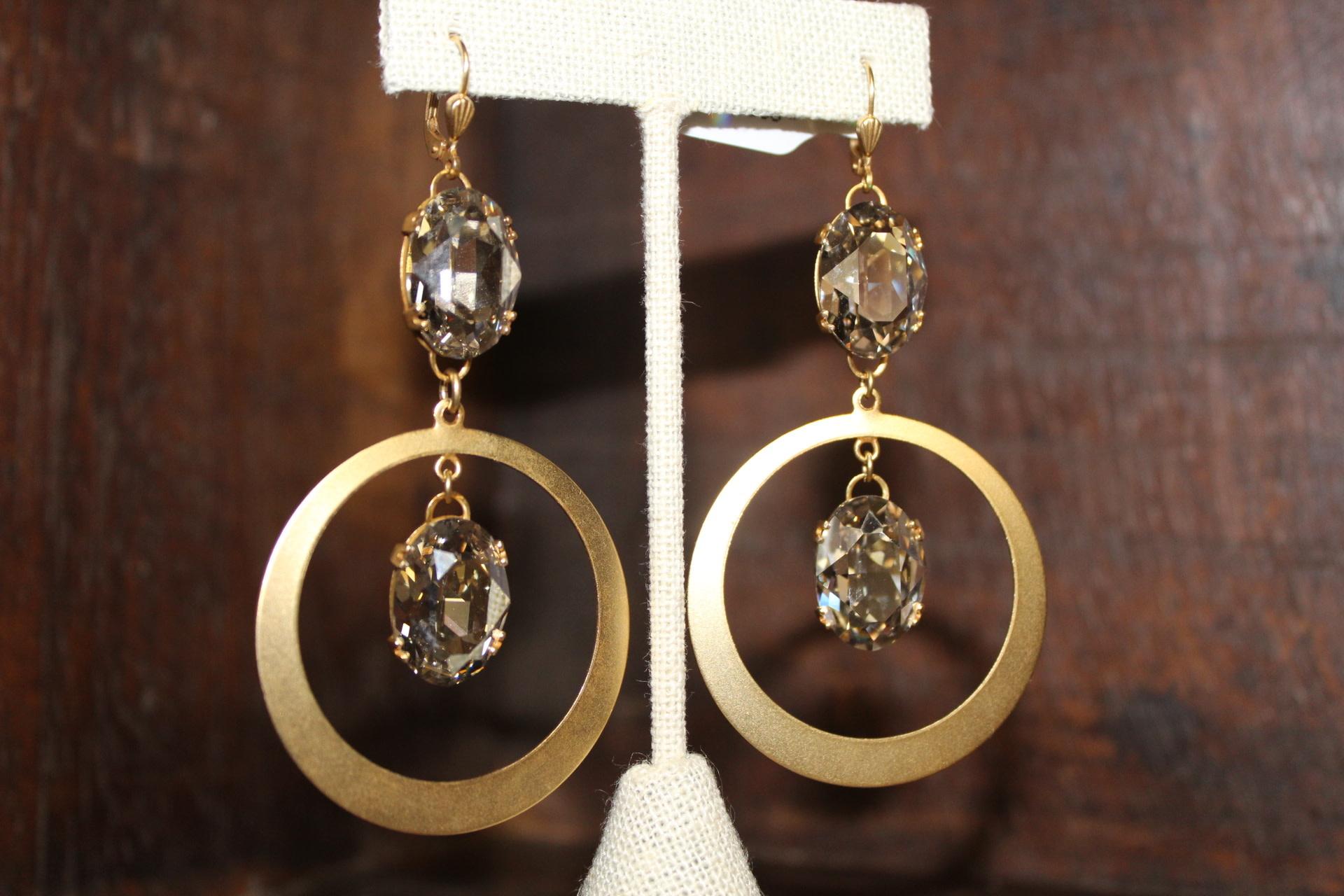 La vie Parisienne Double Crystal /Disc Earrings