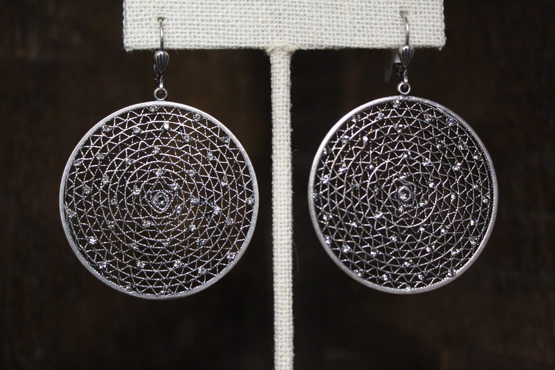La vie Parisienne Black Diamond Silver Round Filigree Earrings