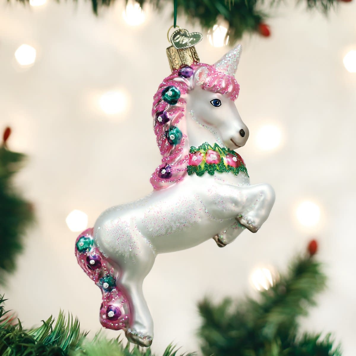 Old World Christmas OWC Prancing Unicorn Ornament