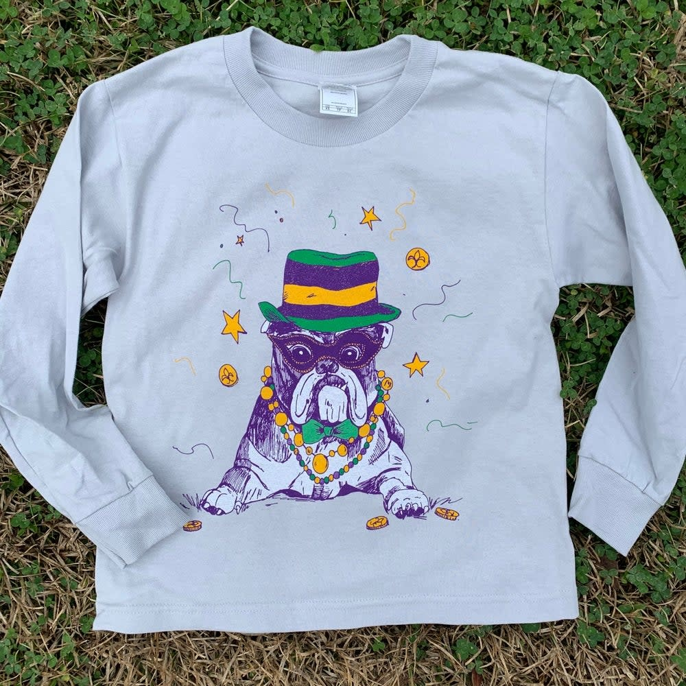 Mr Ps Tees Youth Mardi Dawg Bulldog Long Sleeve