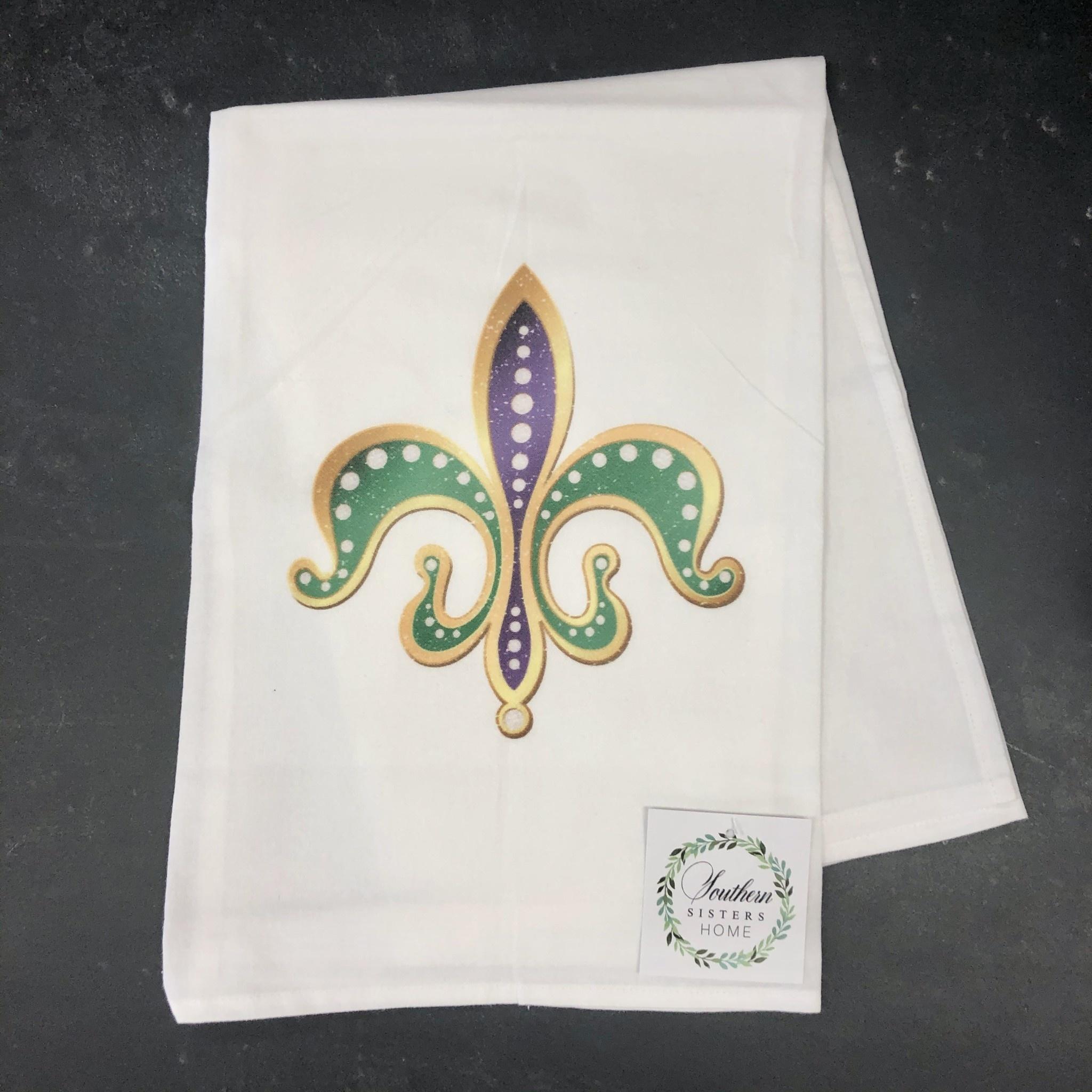 Southern Sisters Enterprises Mardi Gras Fleur de Lis Towel