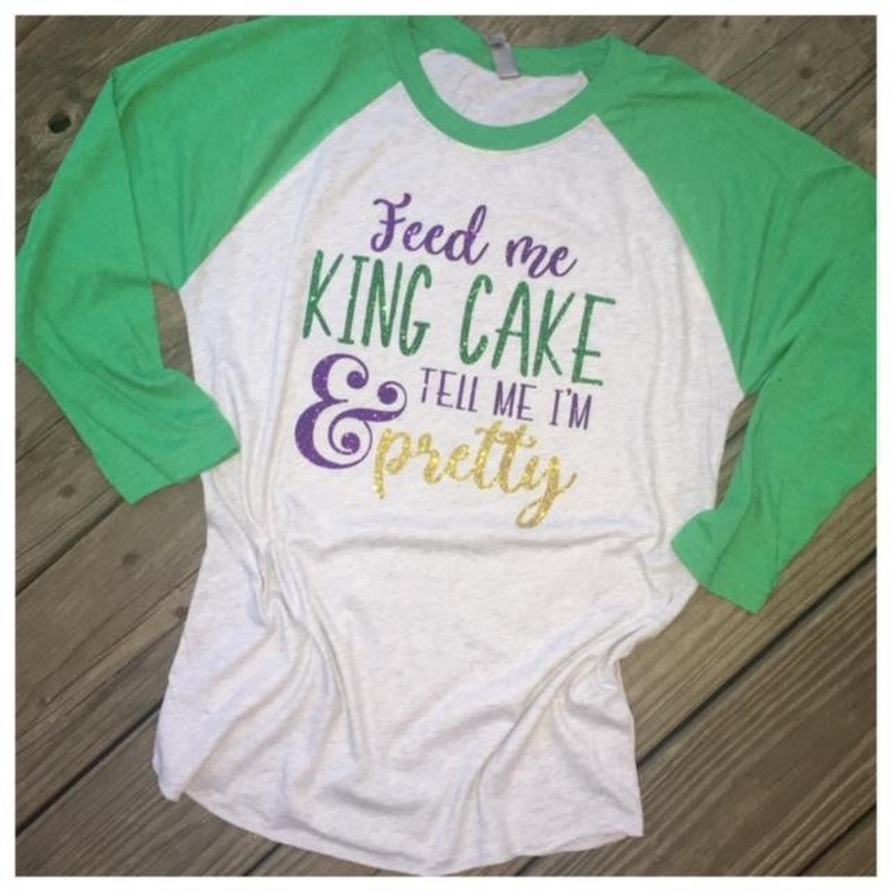 Funky Fleur de Lis Feed Me King Cake Raglan