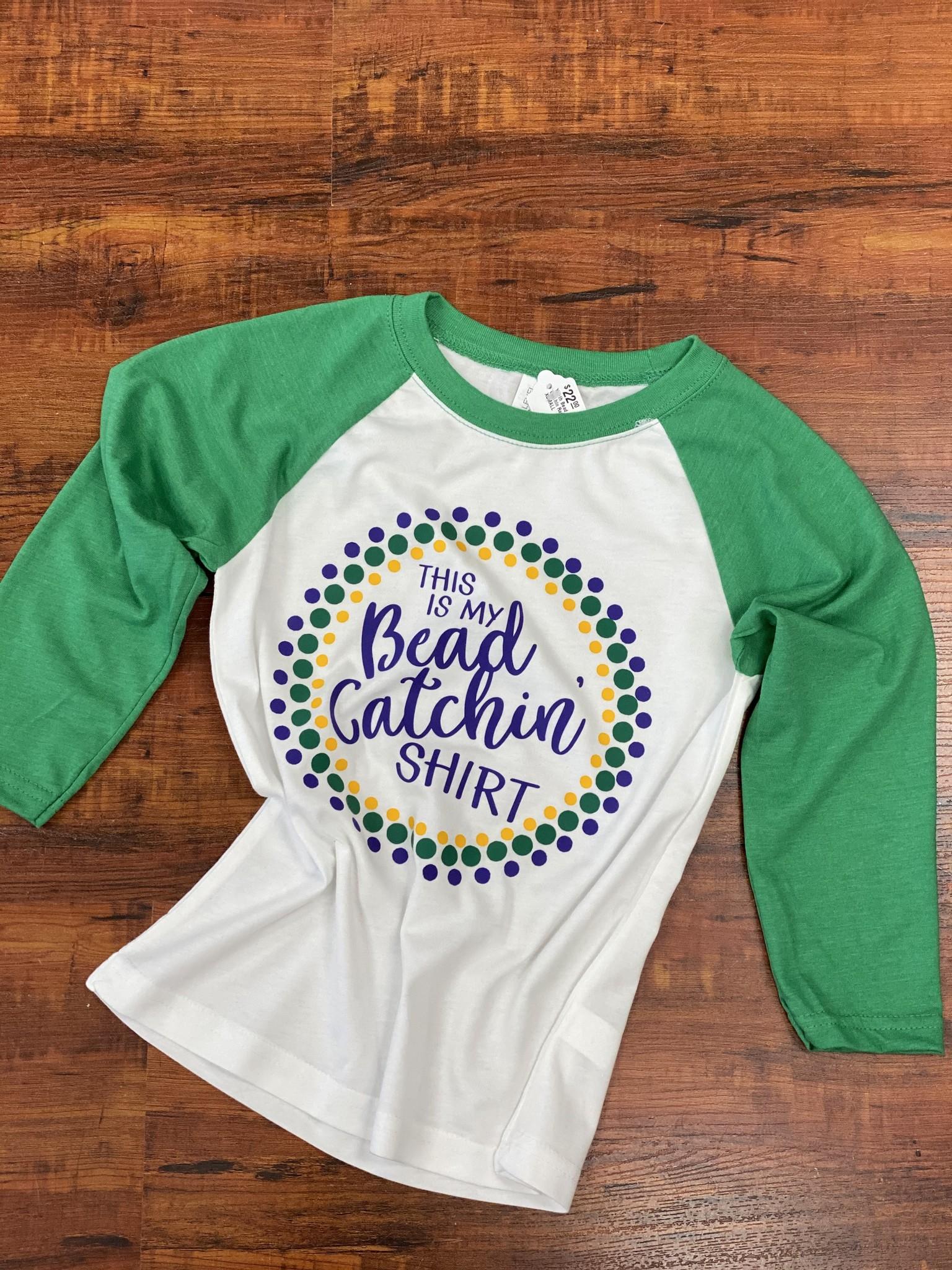 Funky Fleur de Lis Youth Bead Catchin Raglan Shirt